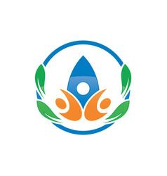 circle human leaf logo image vector image