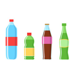 Cola plastic bottle set icon vector