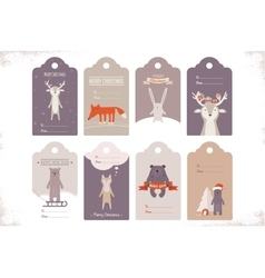 Collection of 8 craft christmas gift tags with vector