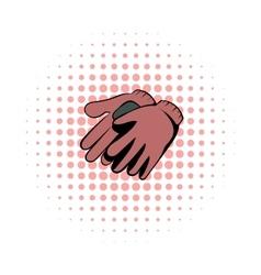Garden gloves comics icon vector