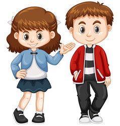 Happy boy and girl standing vector