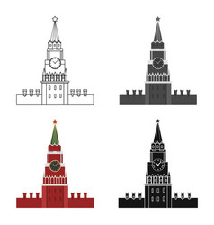 kremlin icon in cartoon style isolated on white vector image vector image