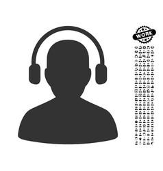Listen operator icon with men bonus vector
