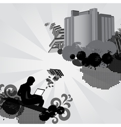 Man works on laptop computer and creates something vector image