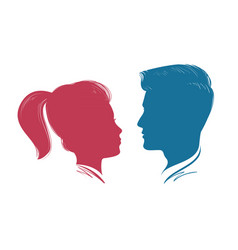Portrait of man and woman head profile vector