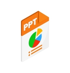 Ppt extension text file icon isometric 3d style vector