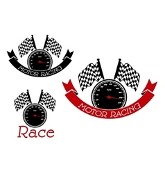Racing sport symbols with speedometers and flags vector image