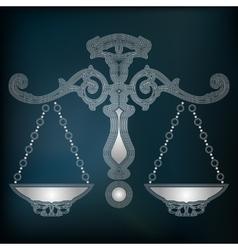 Silver scales zodiac libra sign vector