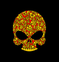 Skull russian khokhloma folk traditional painting vector