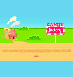 small cartoon candy factory on wide green meadow vector image