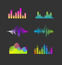 Sound waves equalizer set vector