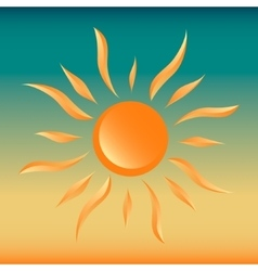 Sun on gradient sky sunset - vector image