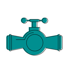 valve and handle with pipe icon image vector image