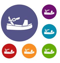 women sandale icons set vector image vector image