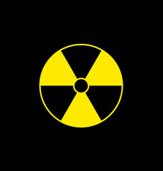 Yellow radiation sign on black background flat vector
