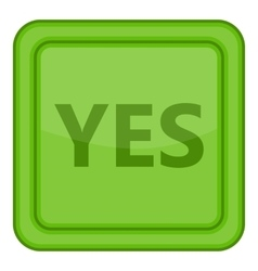 Yes green square label icon cartoon style vector