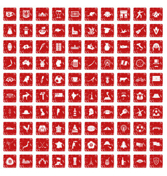 100 map icons set grunge red vector