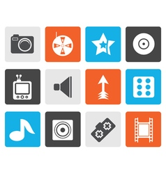 Flat entertainment icons vector