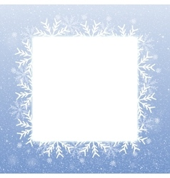 Square blank banner snowflakes snow vector