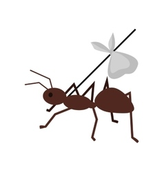 Ant carrying her baggage on branch vector