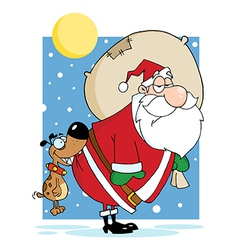 Dog biting a santa claus in the night vector