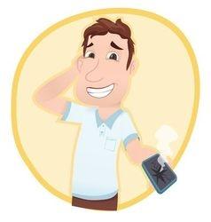 man showing broken smartphone vector image