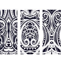 Maori style ornament set vector