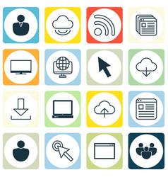 Set of 16 world wide web icons includes login vector