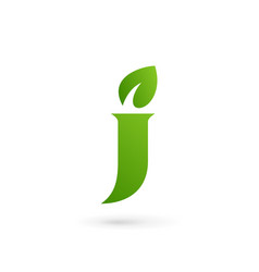 Letter j eco leaves logo icon design template vector