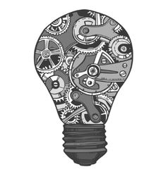 Gears lightbulb sketch vector image