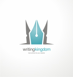 Logo design template with crown and pen vector