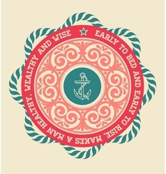 Retro label with nautical elements vector