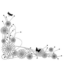 Floral border bw vector