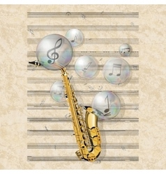Musical background with saxophone and soap bubbles vector