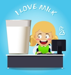 Woman working at desk with big glass of milk vector