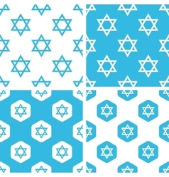 Star of david patterns set vector