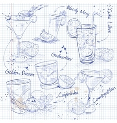 Contemporary classics cocktail set on a notebook vector