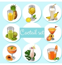 Set of different cocktails with fruits vector