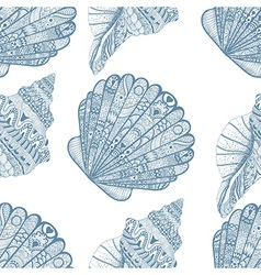 Zentangle stylized ocean shells seamless pattern vector image