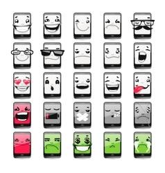 Cartoon Phones Emoticons vector image