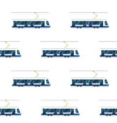Seamless pattern of blue modern tram vector