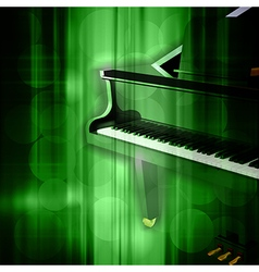 abstract green music background with grand piano vector image