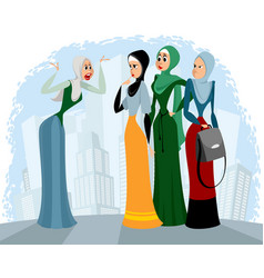 Arab women talking outdoors vector