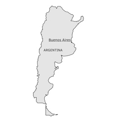 Argentina silhouette map with buenos aires capital vector