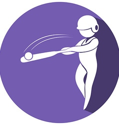 Baseball icon on round badge vector image