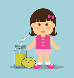 Beauti girl glass jar juice and lemon vector
