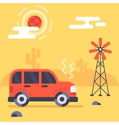 Car in mexico desert flat vector