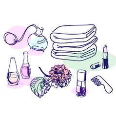 Cosmetic vintage vector image