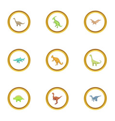 dinosaur icons set cartoon style vector image vector image