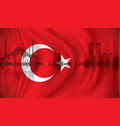 Flag of turkey with istanbul skyline vector